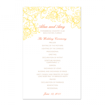 Blossom Wedding Program (Front)