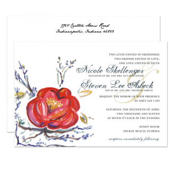 Hand Painted Red Flower Wedding Invitation